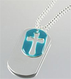 SMALL BLUE CROSS/DOG TAG PENDANT