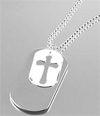 SMALL WHITE CROSS/DOG TAG PENDANT